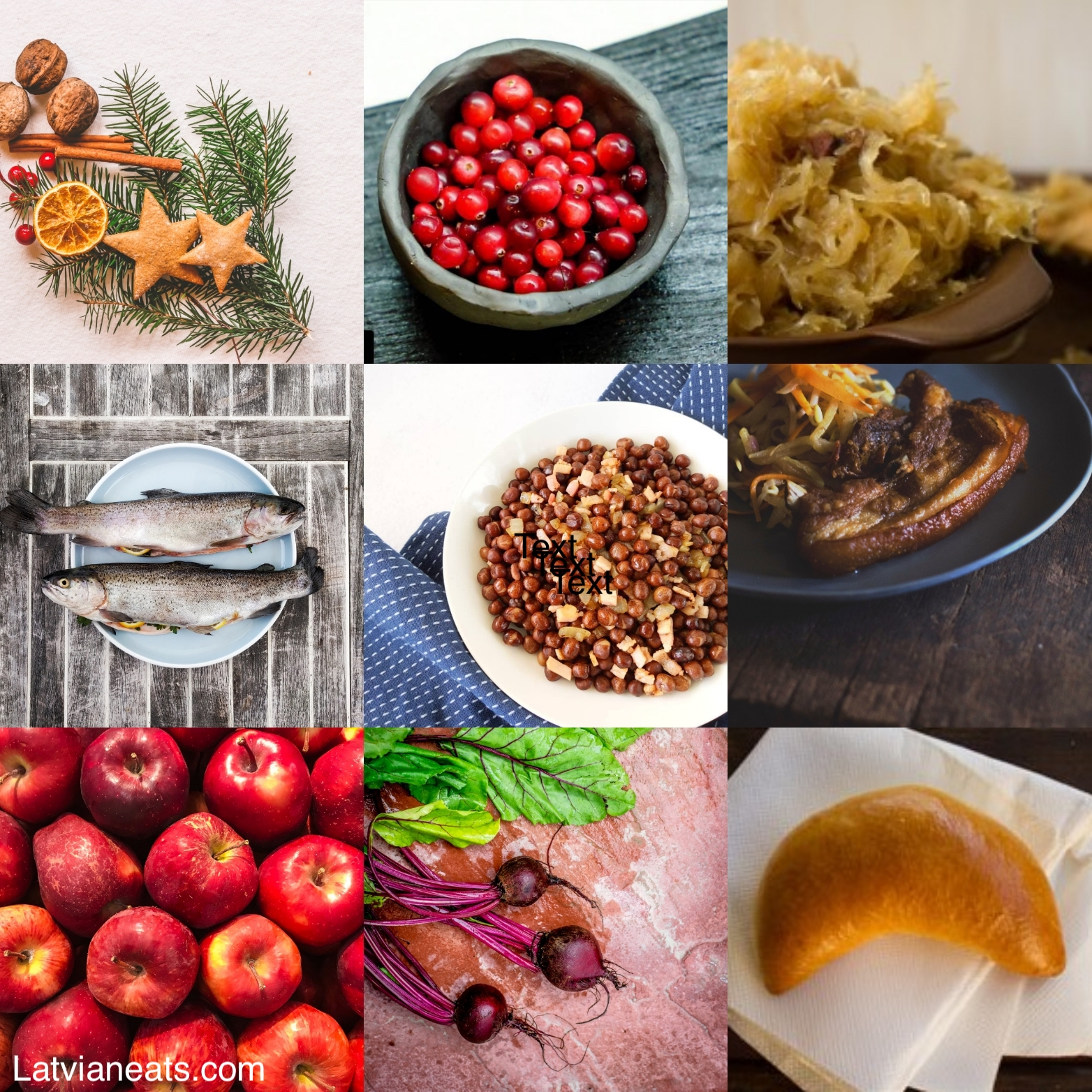 collage of traditional Latvian New Year's food